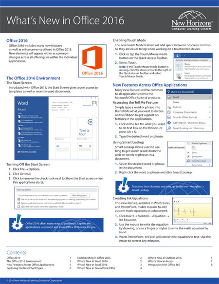 Office 2016 Quick Reference Card