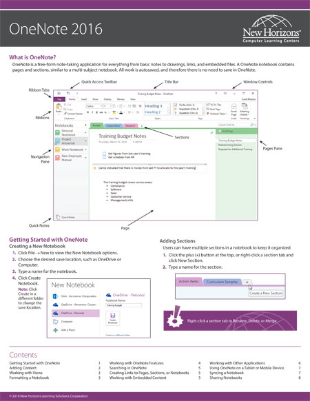 OneNote Quick Reference Card